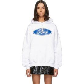 ヴェルサーチ Versace レディース パーカー トップス【White Ford Edition Sports Hoodie】