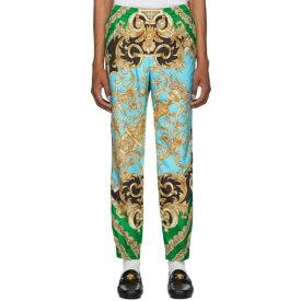 ヴェルサーチ Versace メンズ スウェット・ジャージ ボトムス・パンツ【Green & Blue Barocco Homme Track Pants】