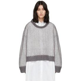 メゾン マルジェラ Maison Margiela レディース ニット・セーター トップス【Grey & White Crewneck Sweater】Dark grey