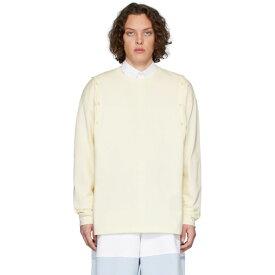 J.W.アンダーソン JW Anderson メンズ 長袖Tシャツ トップス【Yellow Shoulder Placket Long Sleeve T-Shirt】Off-white
