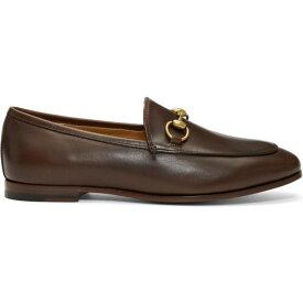 グッチ Gucci レディース ローファー・オックスフォード シューズ・靴【brown jordaan loafers】Fondente