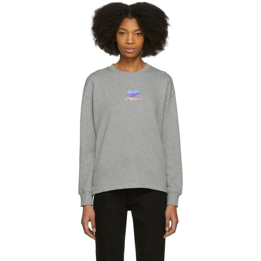 クレージュ レディース トップス スウェット・トレーナー【Grey Snapped Logo Sweatshirt】