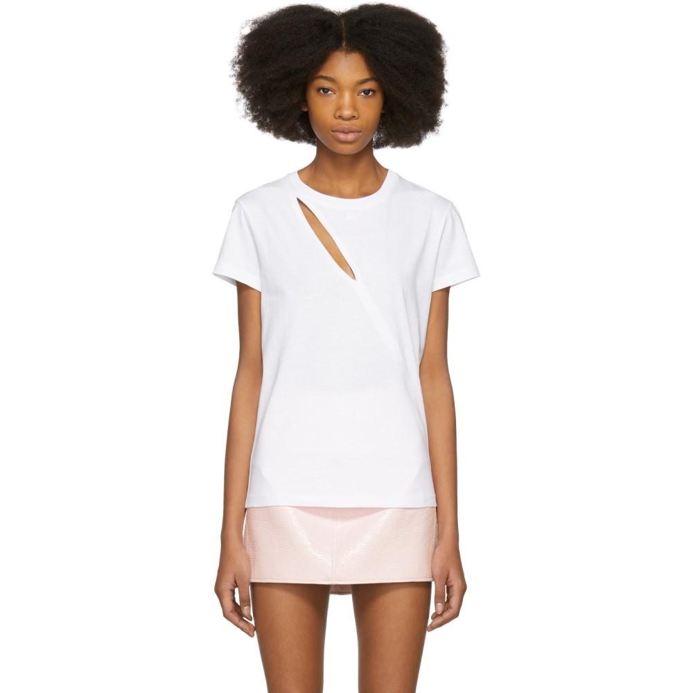 クレージュ レディース トップス Tシャツ【White Diagonal Cutting T-Shirt】