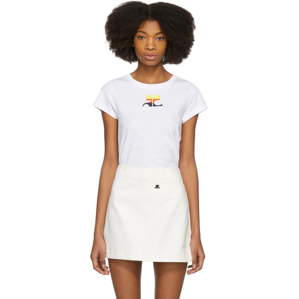 クレージュ レディース トップス Tシャツ【White Gradient Logo T-Shirt】