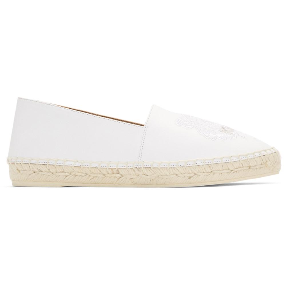 ケンゾー レディース シューズ・靴 エスパドリーユ【White Leather Classic Tiger Espadrilles】