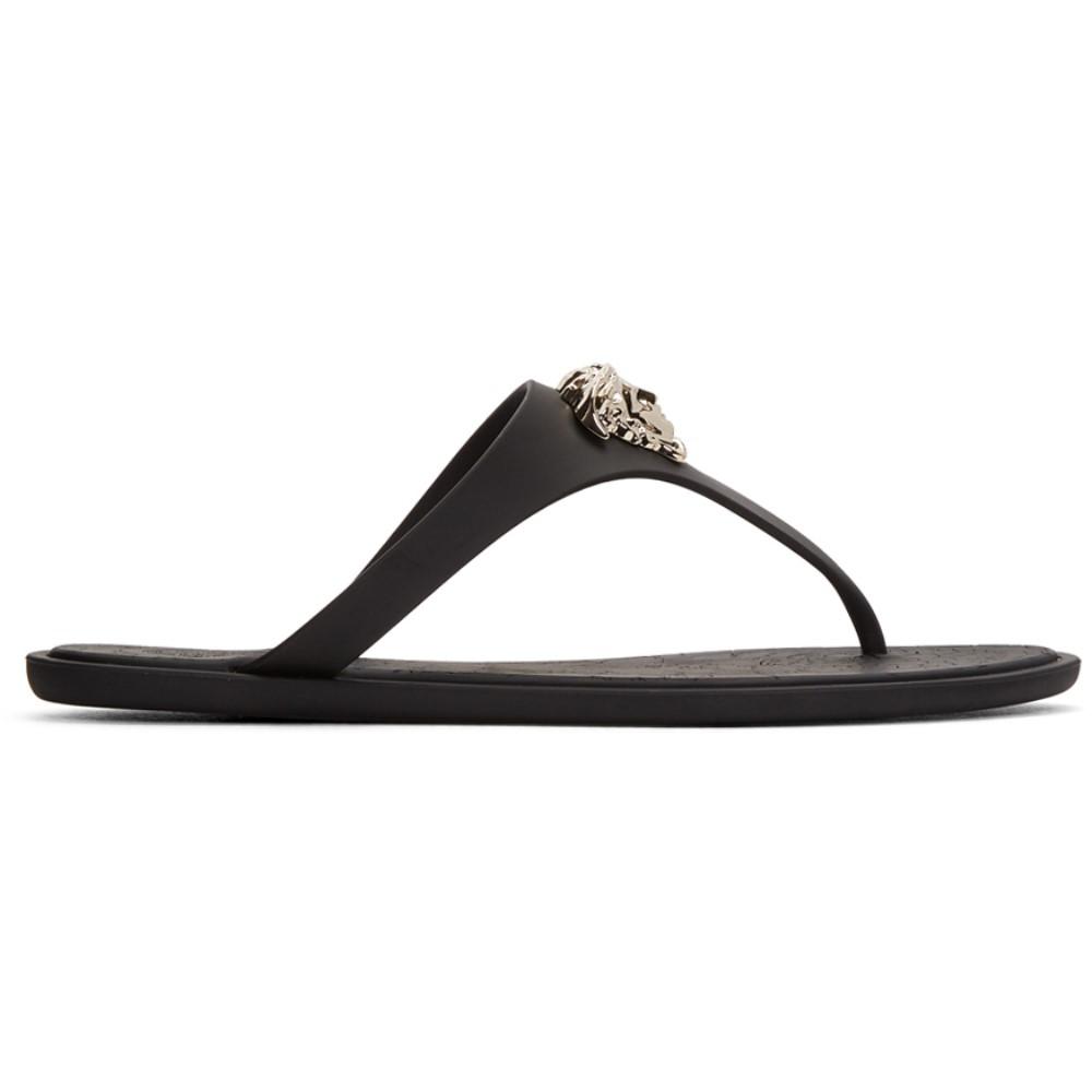 ヴェルサーチ レディース シューズ・靴 サンダル・ミュール【Black Rubber Medusa Sandals】