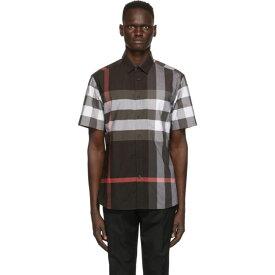 バーバリー Burberry メンズ 半袖シャツ トップス【Grey Check Somerton Short Sleeve Shirt】Charcoal
