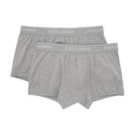 ドルチェ&ガッバーナ Dolce & Gabbana メンズ ボクサーパンツ インナー・下着【Two-Pack Grey Regular Boxer Briefs】Grey