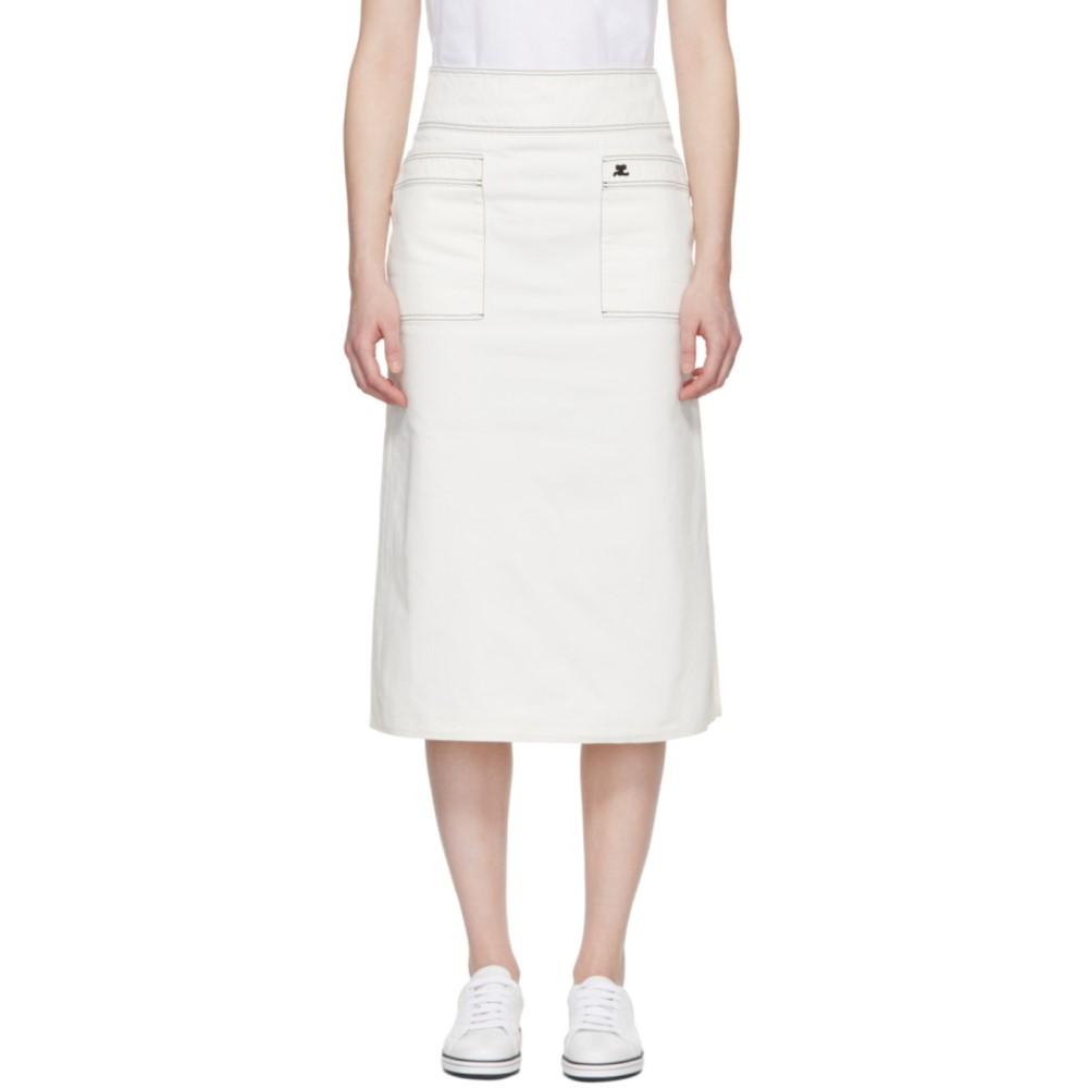 クレージュ レディース スカート ひざ丈スカート【White Midi Denim Skirt】