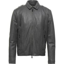 ヴェルサーチ VERSACE JEANS メンズ レザージャケット アウター【Leather Jacket】Lead