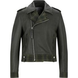ヴェルサーチ VERSACE COLLECTION メンズ レザージャケット アウター【Biker Jackets】Military green