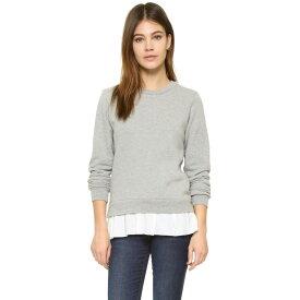 クルー Clu レディース トップス トレーナー・パーカー【Clu Too Ruffled Sweatshirt】Heather Grey/White