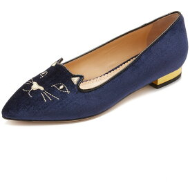 シャーロットオリンピア Charlotte Olympia レディース シューズ・靴 フラット【Mid Century Kitty Flats】Navy/Gold