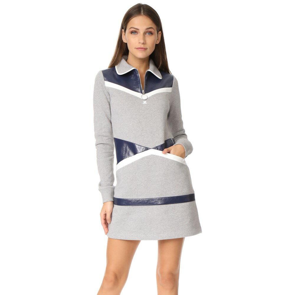 クレージュ Courreges レディース トップス ワンピース【Sweater Dress】Grey/White/Navy
