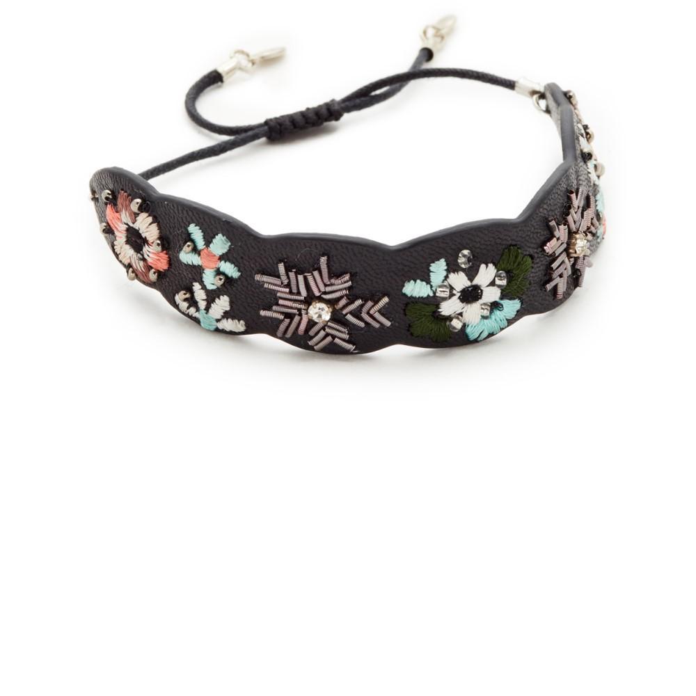 レベッカ ミンコフ レディース ジュエリー・アクセサリー ブレスレット【Floral Embroidery Guitar Strap Bracelet】Black