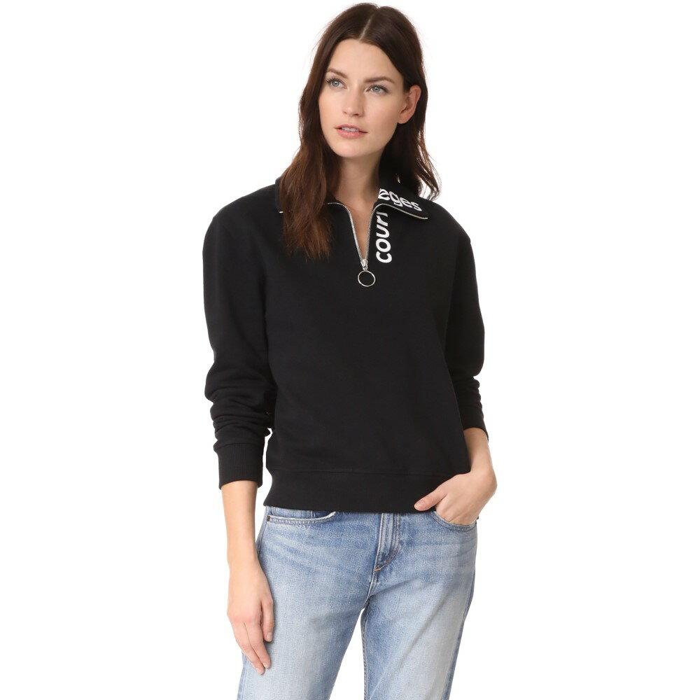 クレージュ レディース トップス スウェット・トレーナー【Sweat Shirt Logo Zipped Neck Logo】Black/White