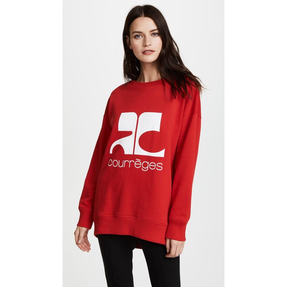 クレージュ レディース トップス フリース【Fleece Logo Sweatshirt】Rouge/Blanc