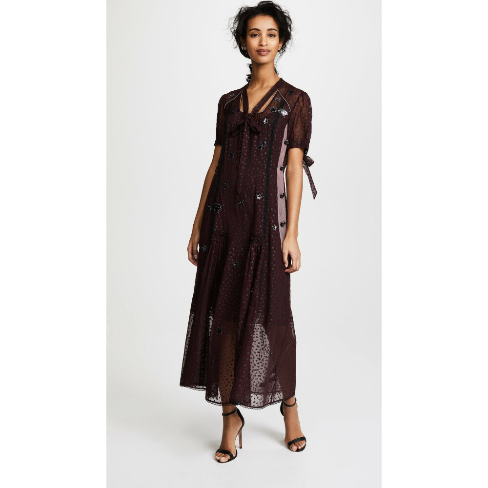 コーチ レディース ワンピース・ドレス ワンピース【Long Star Print Dress】Burgundy