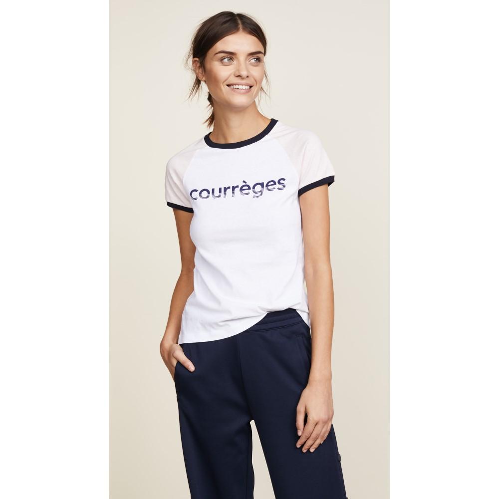 クレージュ レディース トップス Tシャツ【Courreges T-Shirt】White/Light Pink/Navy