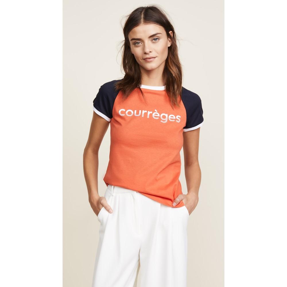 クレージュ レディース トップス Tシャツ【Courreges T-Shirt】Navy/Red