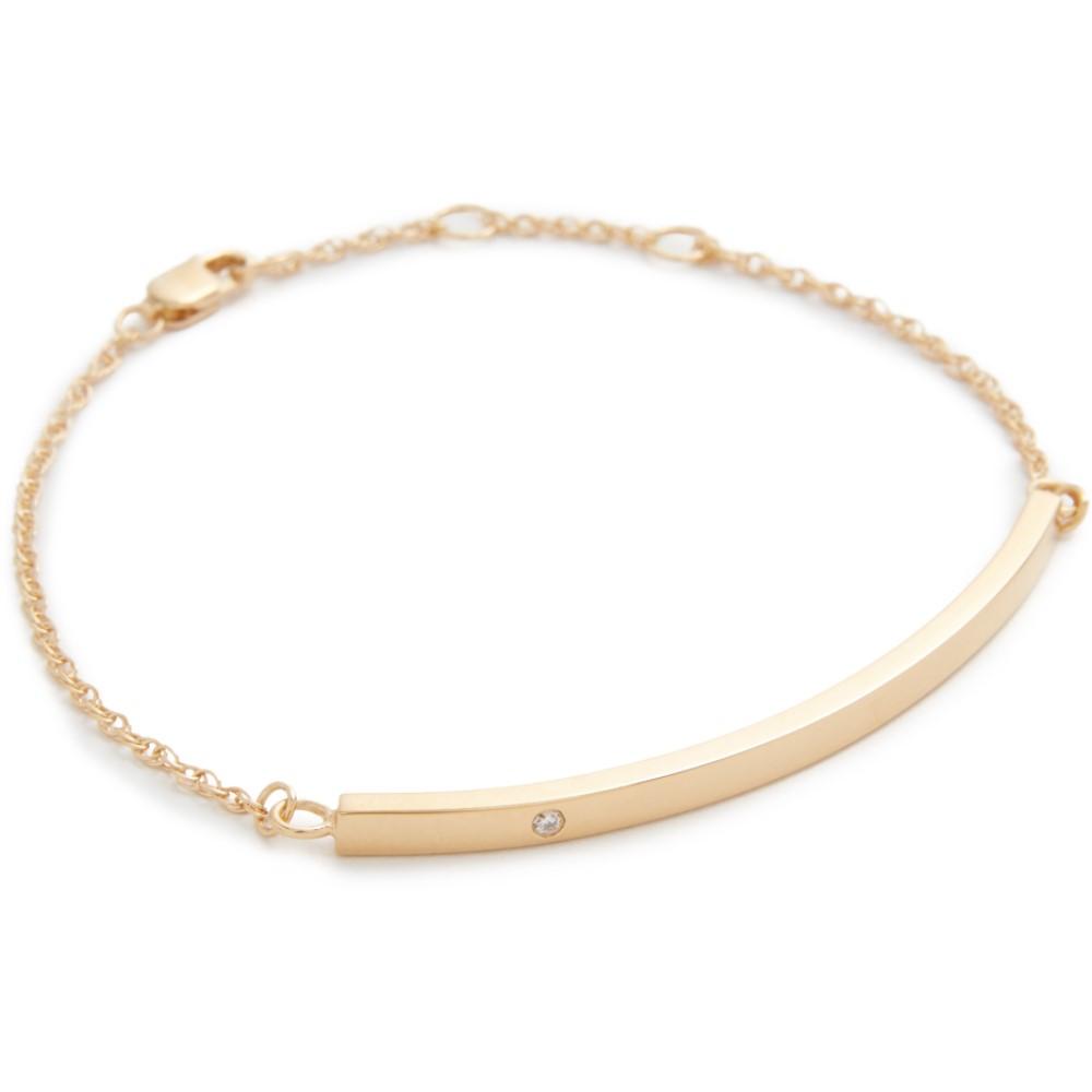 ジェニファーズーナー レディース ジュエリー・アクセサリー ブレスレット【Horizontal Bar Bracelet with Diamond】Yellow Gold