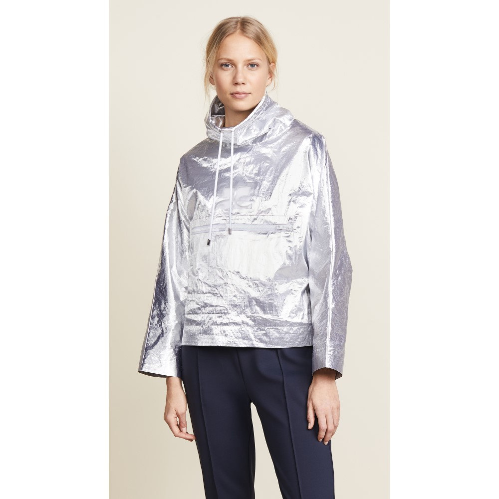 クレージュ レディース アウター レインコート【Snapped Sleeves Rain Jacket】Silver