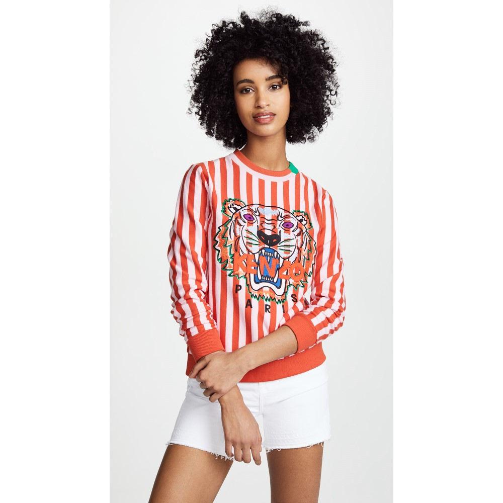 ケンゾー レディース トップス スウェット・トレーナー【Tiger Stripe Sweatshirt】Medium Red