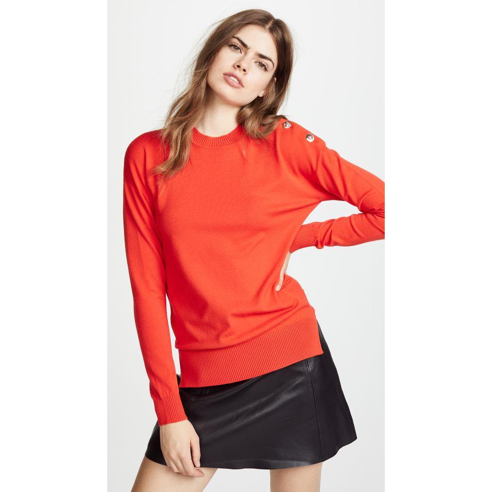 ヴェルサーチ レディース トップス ニット・セーター【Button Crew Neck Sweater】Dark Orange