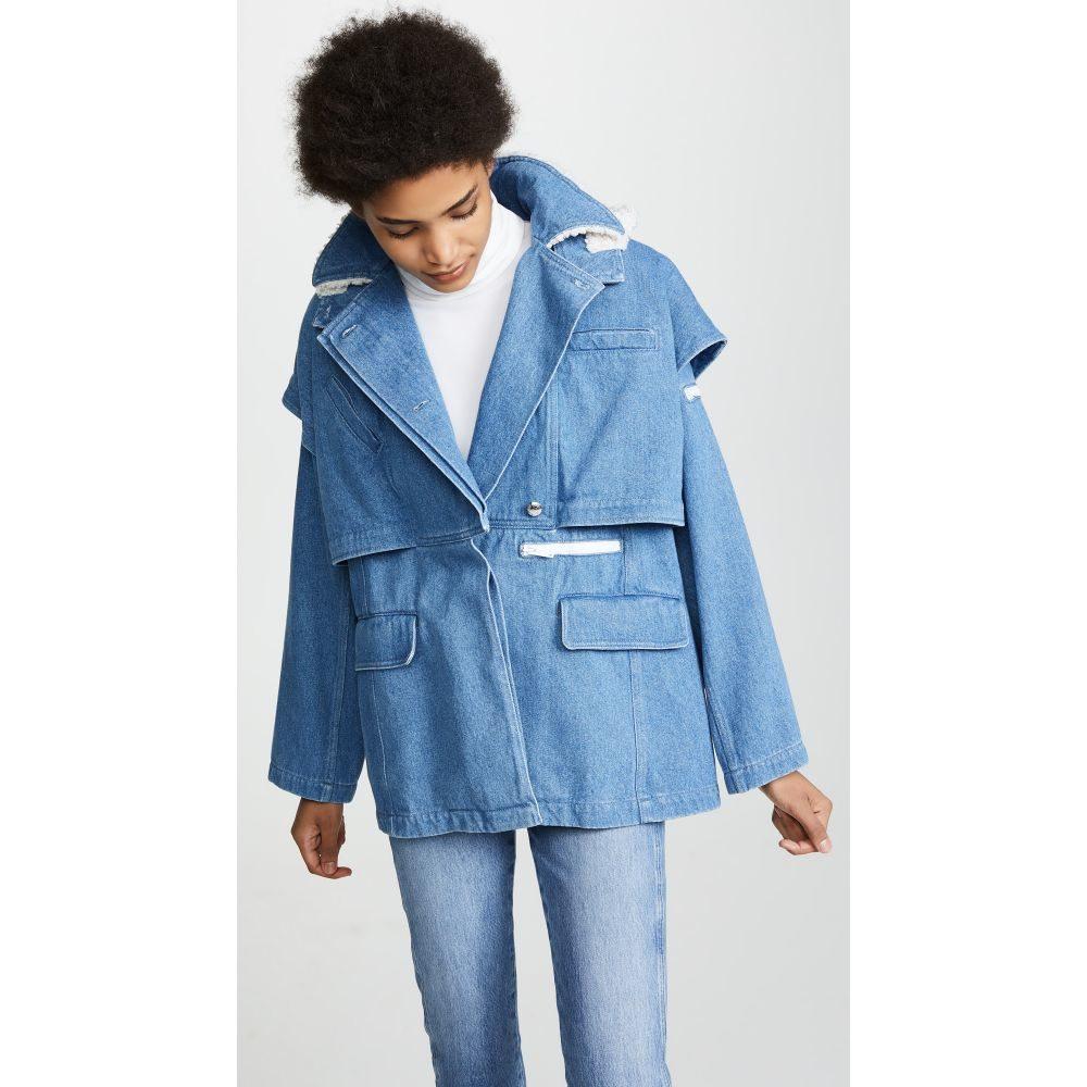クレージュ Courreges レディース アウター ジャケット【Jacket Double-Breasted With Hood】Washed Blue