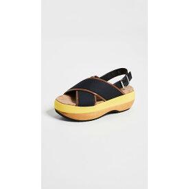 マルニ Marni レディース シューズ・靴 サンダル・ミュール【Wedge Criss Cross Sandals】Black/Marmo