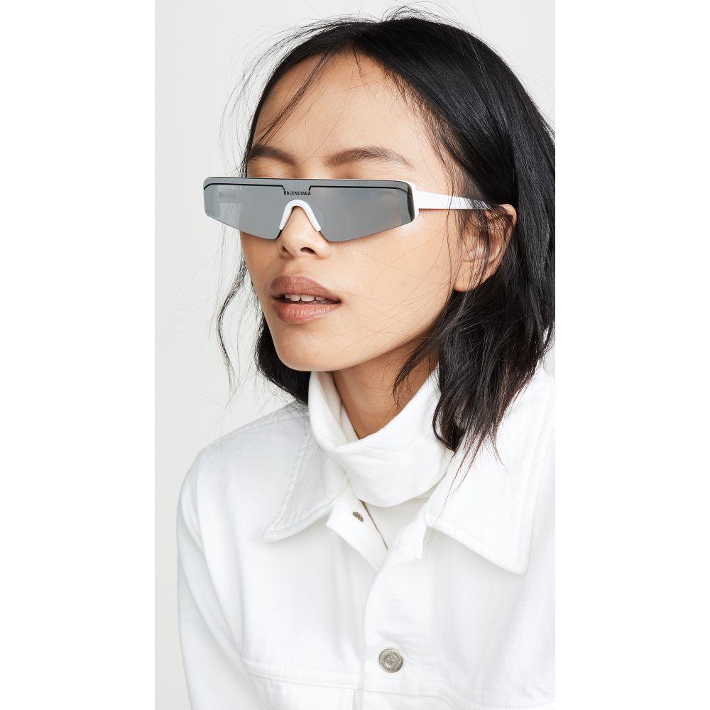 バレンシアガ Balenciaga レディース メガネ・サングラス【Ski Straight Sunglasses】White with Silver Mirrored Len