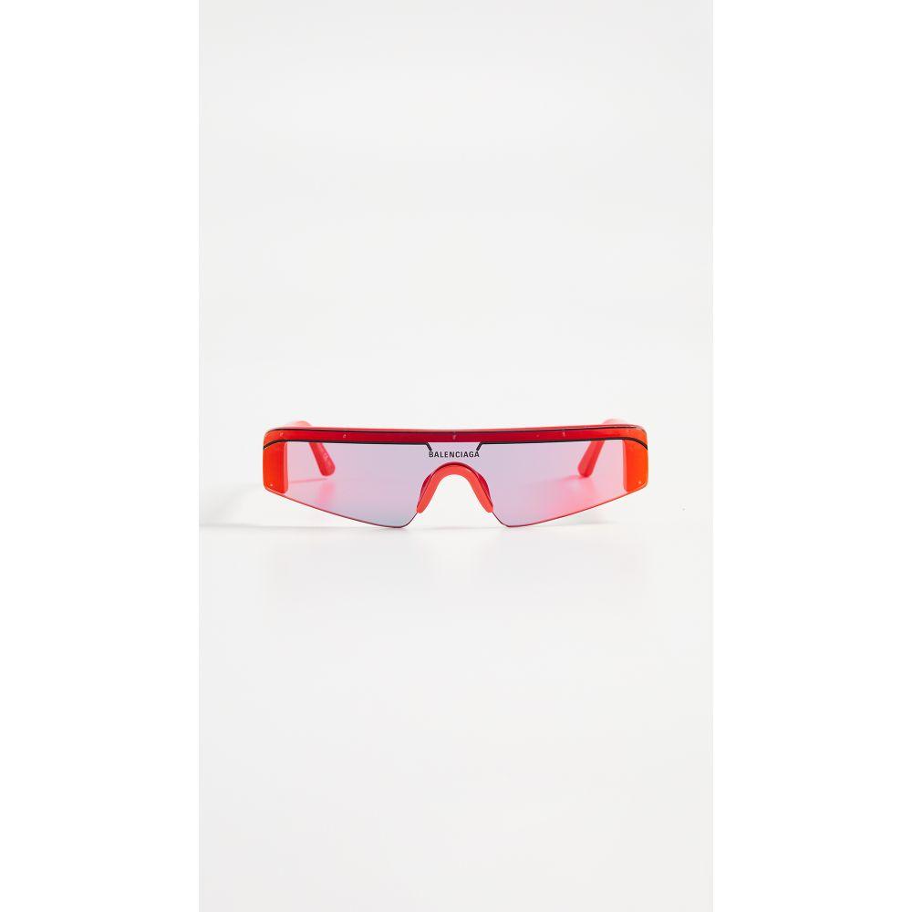 バレンシアガ Balenciaga レディース メガネ・サングラス【Ski Straight Sunglasses】Red with Red Mirrored Lens