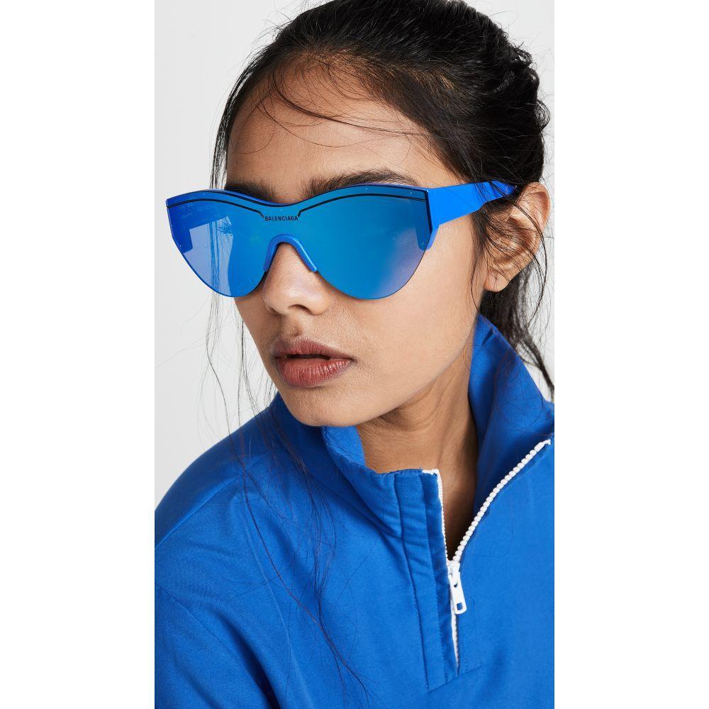 バレンシアガ Balenciaga レディース メガネ・サングラス【Ski Soft Sunglasses】Blue with Blue Mirrored Lens