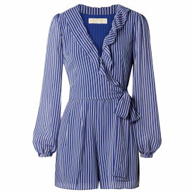 マイケル コース MICHAEL Michael Kors レディース ワンピース・ドレス オールインワン【Wrap-effect ruffled striped georgette playsuit】Midnight Blue