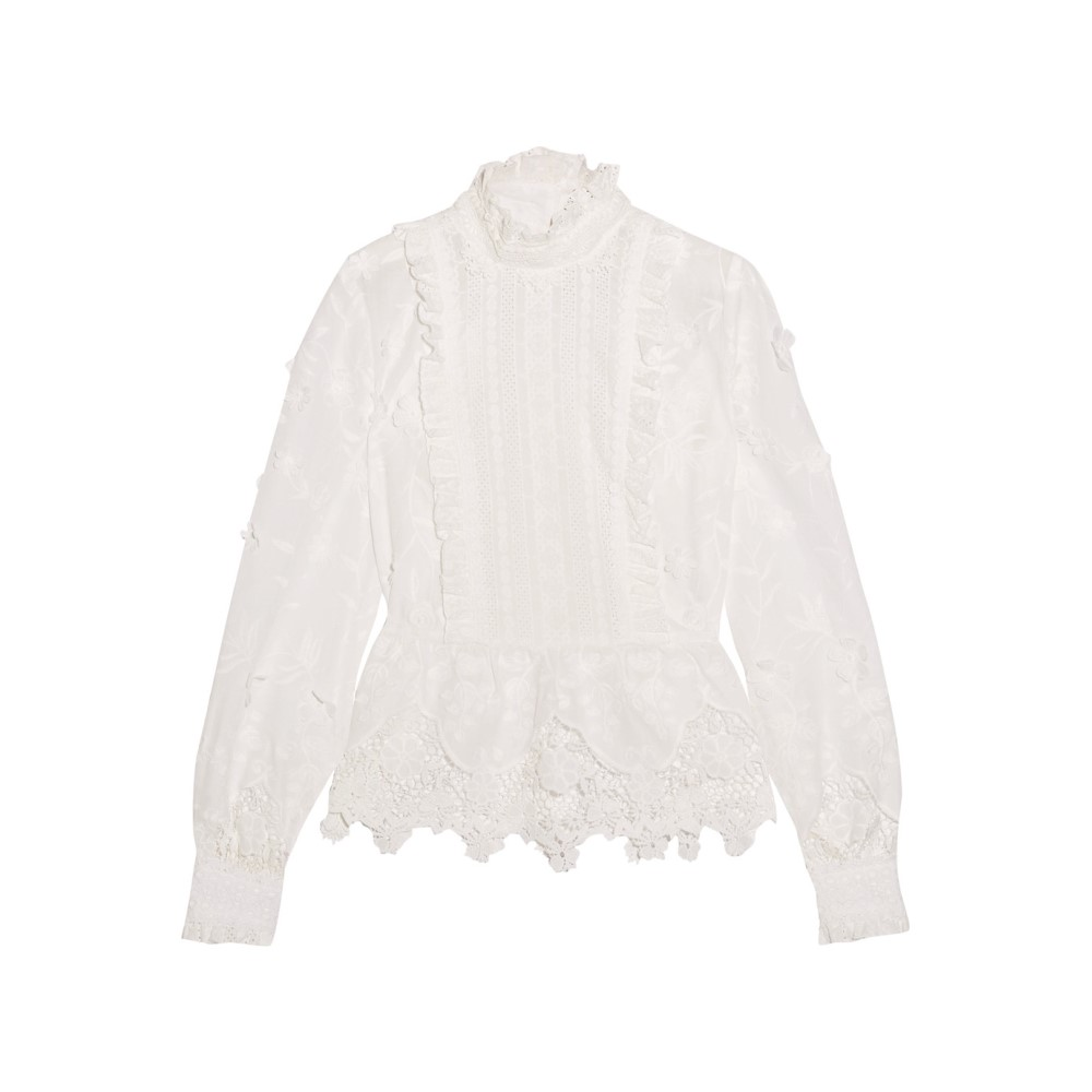 アナスイ Anna Sui レディース トップス ブラウス【Daisy Fields silk-blend and broderie anglaise cotton blouse】