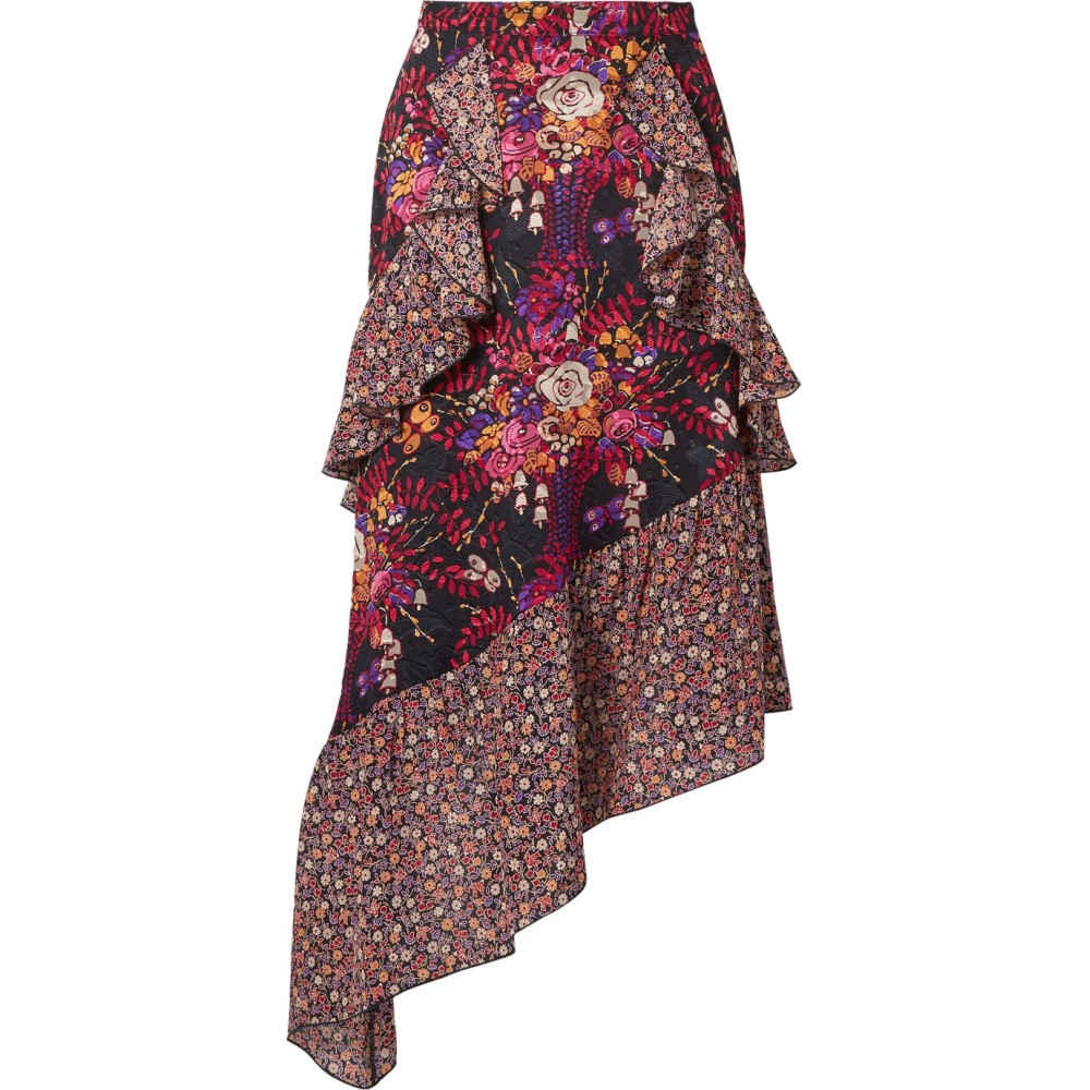 アナスイ レディース スカート ひざ丈スカート【Butterflies and Bells asymmetric silk-jacquard midi skirt】