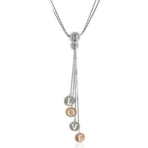 ロザート Rosato レディース ネックレス チャーム ジュエリー・アクセサリー【Rose Gold Plated Sterling Silver Love Charm Necklace】Silver