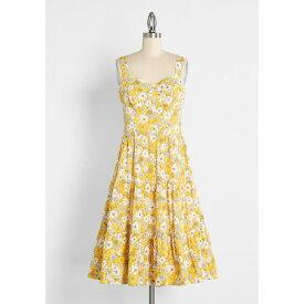 モドクロス ModCloth レディース ワンピース ミドル丈 ワンピース・ドレス【Sipping Tennessee Honey Whiskey Midi Dress】Yellow