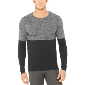 アローヨガ メンズ トップス シャツ【Energy Long - Sleeve Crew Shirts】Black/Charcoal Heather Gradient