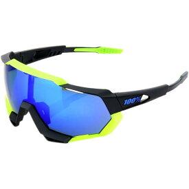 ヒャクパーセント レディース スポーツサングラス【Speedtrap Sunglasses】Polished Black/Matte Neon Yellow-Electric Blue Mirror Lens