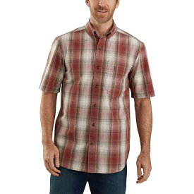 カーハート Carhartt メンズ 半袖シャツ トップス【TW174 Relaxed Fit Plaid Shirt】Dark Barn Red