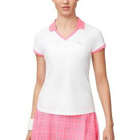 フィラ Fila レディース テニス Vネック トップス【Windowpane V-Neck Tennis Shirt】White/Miami Pink/Atlantis