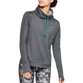 アンダーアーマー Under Armour レディース スウェット・トレーナー トップス【Featherweight Fleece Mesh Funnel Neck Sweatshirt】Charcoal/Green Malachite