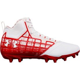 アンダーアーマー Under Armour メンズ ラクロス スパイク シューズ・靴【Banshee Mid MC Lacrosse Cleats】White/Red
