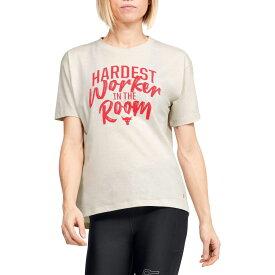 アンダーアーマー Under Armour レディース Tシャツ トップス【Project Rock Hardest Worker Graphic T-Shirt】Summit White/Versa Red