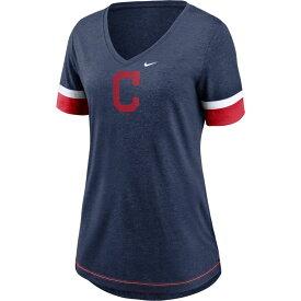 ナイキ Nike レディース Tシャツ トップス【Cleveland Indians Navy Mesh Logo V-Neck T-Shirt】