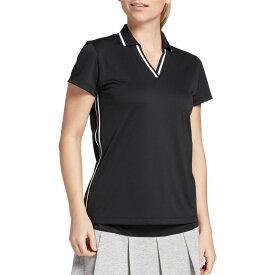スラセンジャー Slazenger レディース ゴルフ 半袖 トップス【Ribbed Inset Short Sleeve Golf Polo】Black