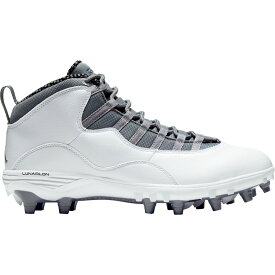 ナイキ ジョーダン Jordan メンズ アメリカンフットボール スパイク シューズ・靴【10 TD Mid Football Cleats】White/Grey