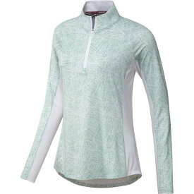 アディダス adidas レディース ゴルフ トップス【AEROREADY UPF Solid Long Sleeve Mock Neck Golf Shirt】Green Tint