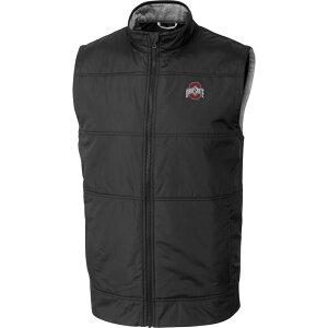 カッター&バック Cutter & Buck メンズ ベスト・ジレ トップス【Ohio State Buckeyes Stealth Full-Zip Black Vest】